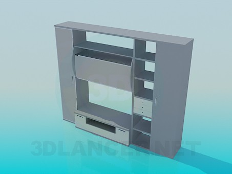3d model Furniture with shelves for TV - preview