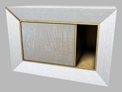 बेडसाइड टेबल चमड़े छंटनी की आर्ट डेको Semiramide के साथ लकड़ी का बना