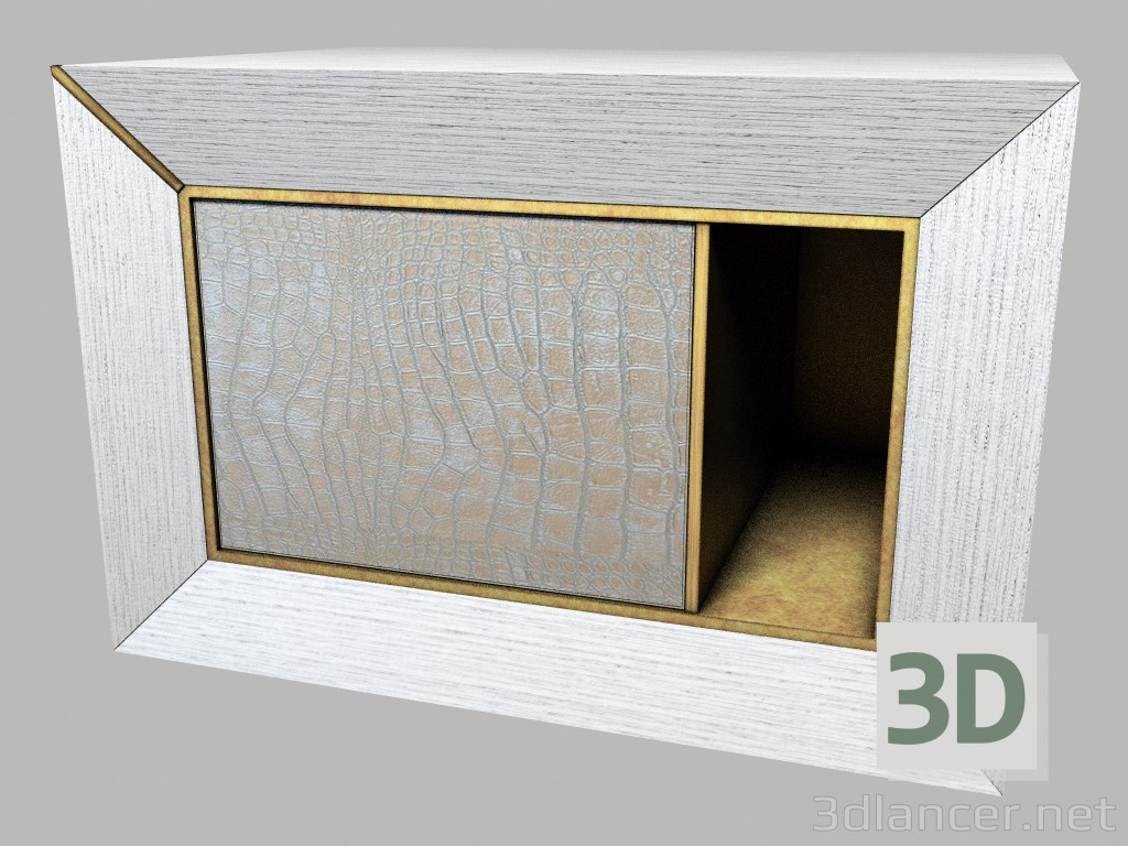 3d model Bedside table made of wood with leather-trimmed Art Deco Semiramide - preview