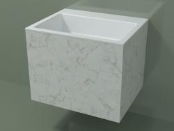 Lavabo suspendu (02R133302, Carrara M01, L 60, P 48, H 48 cm)