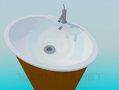 modelo 3D Tocador con un soporte en forma de cono - escuchar