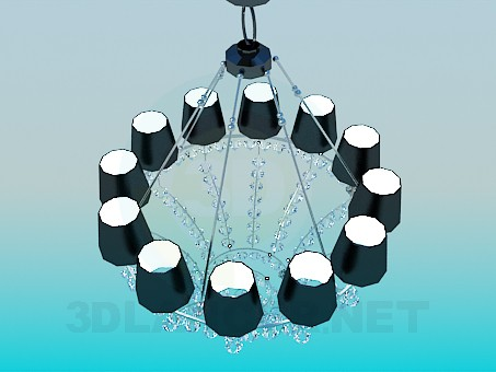 3d model Chic chandelier featuring  crystals - preview
