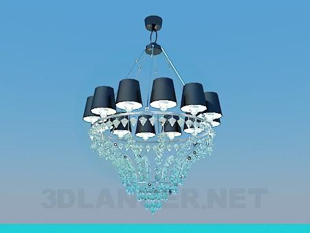 3d модель Шикарная люстра отделанная хрустальными кристалликами – превью