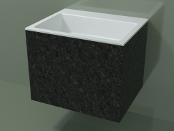 Wall-mounted washbasin (02R133302, Nero Assoluto M03, L 60, P 48, H 48 cm)