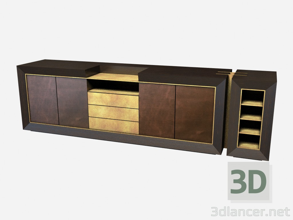 3d моделирование Большой горизонтальный комод в стиле арт деко Toska Z01 модель скачать бесплатно