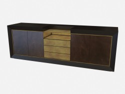 Chest of drawers made of wood with metal and leather-trimmed Toska Z02