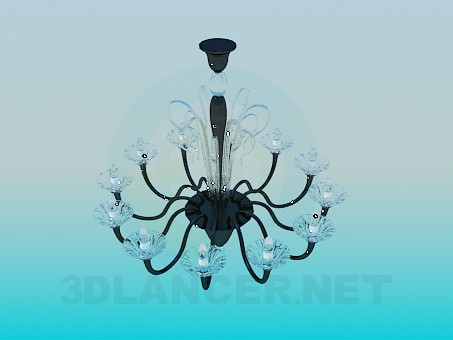 3d model Chandelier with lights as candles - preview