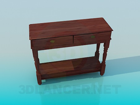 3d model Wooden console - preview
