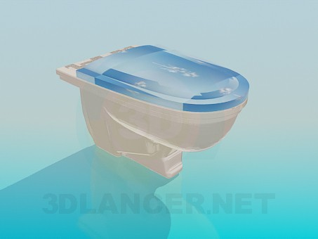 3d model Toilet seat with drawn lid - preview