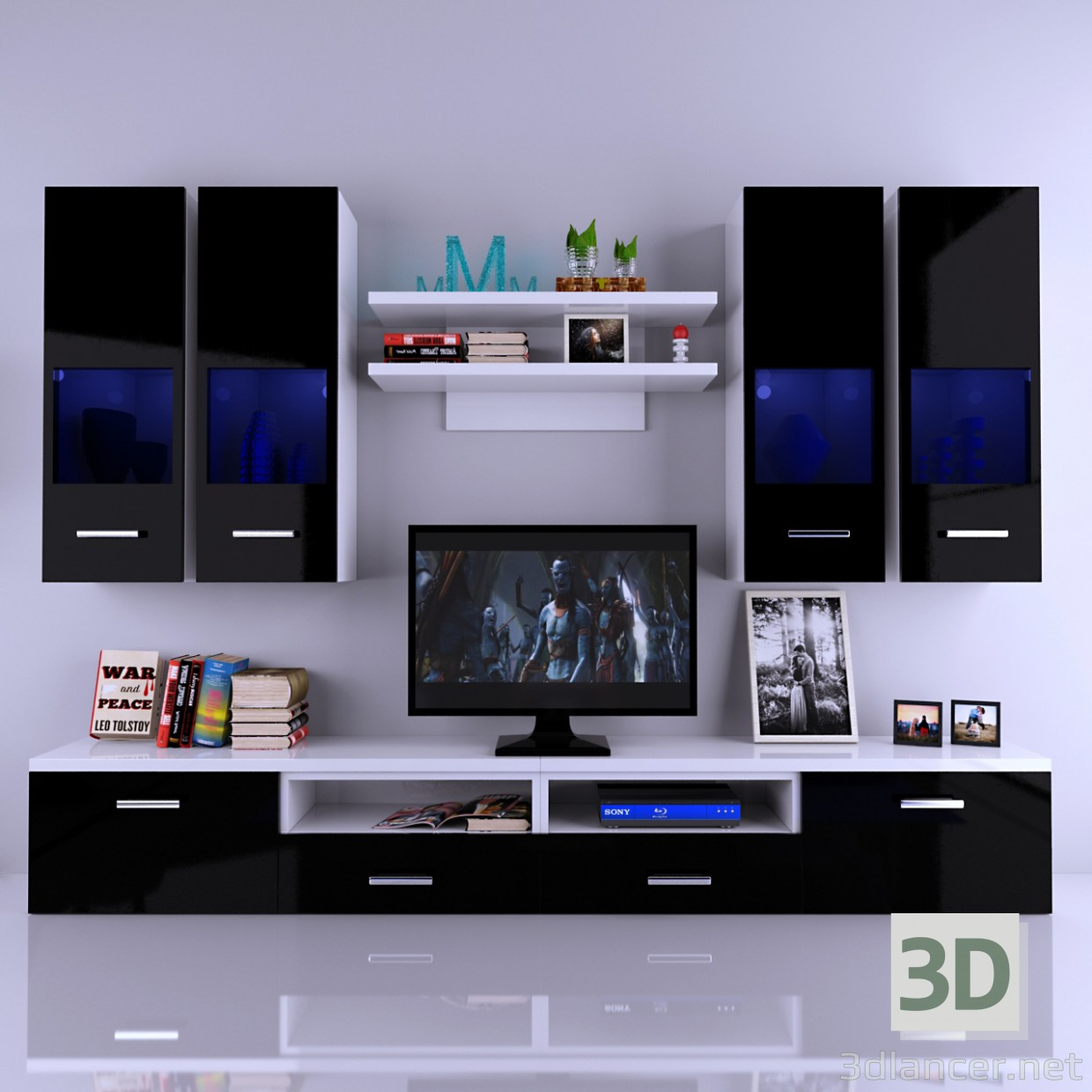 3d model Pared tv-Nero con la decoración. Pared de la TV - vista previa