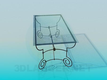 modelo 3D Mesa de centro con patas de hierro forjado - escuchar