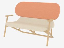 Canapé double sur cadre en bois