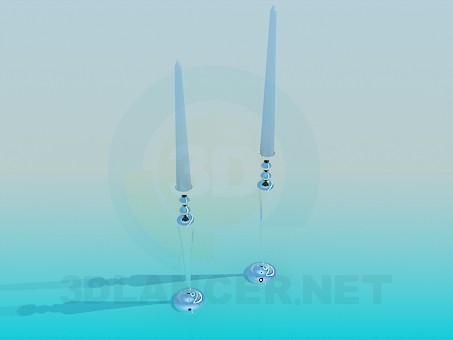 3d модель Два подсвечника со свечками – превью
