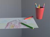 Colored pencils in a glass and children's drawing