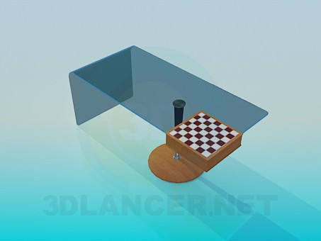 3d model Coffee table with a chess board - preview
