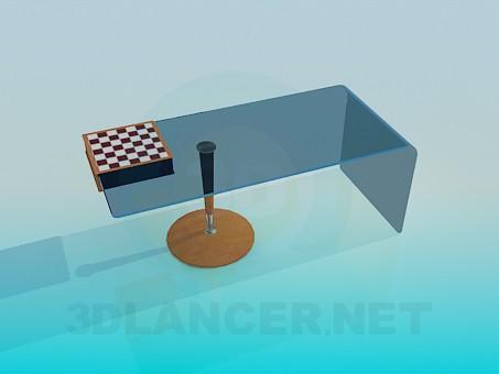 modelo 3D Mesa con un tablero de ajedrez - escuchar