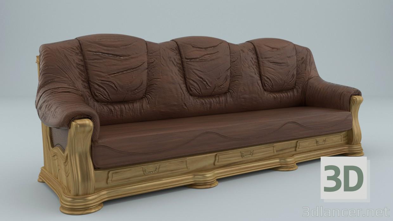 3d Realistic kozhennyj sofa model buy - render
