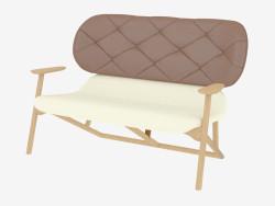 Canapé double avec dos en cuir