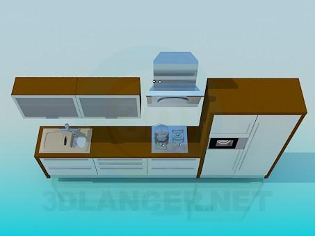 3d моделирование Кухонный гарнитур модель скачать бесплатно