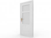Interior door with glass