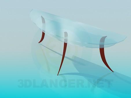3d модель Стеклянный столик под стену – превью