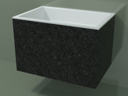 Wall-mounted washbasin (02R143301, Nero Assoluto M03, L 72, P 48, H 48 cm)