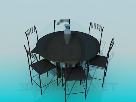 3d модель Круглий стіл зі стільцями – превью