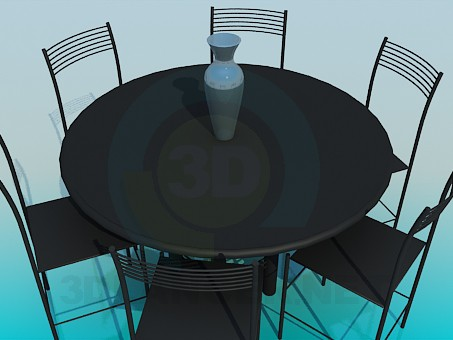 3d model Round table with chairs - preview