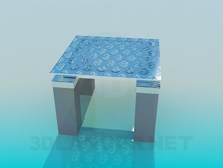 3d модель Квадратный низкий столик – превью