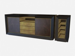Peito de Art Deco de madeira retangular Toska Z03