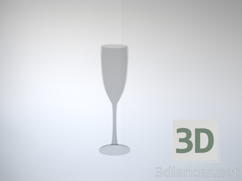 3d Champagne glass model buy - render