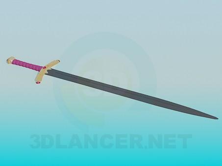 descarga gratuita de 3D modelado modelo Espada con mango decorado