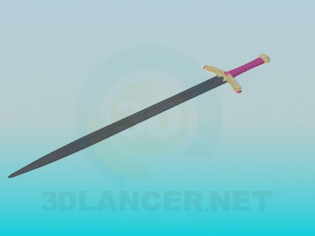 3d model Sword with decorated handle - preview