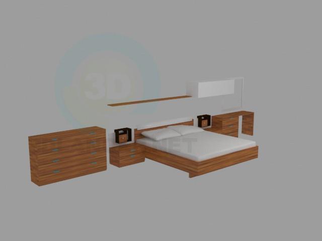 modelo 3D muebles del dormitorio - escuchar