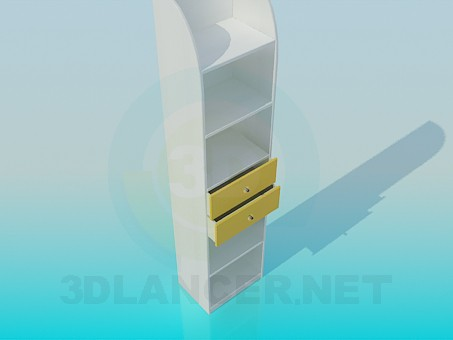 3d model Bookcase with drawers - preview