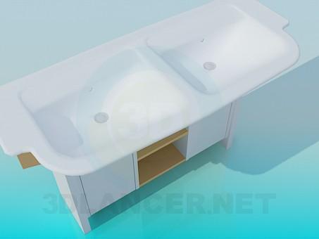 3d модель Две раковины на одной тумбе – превью
