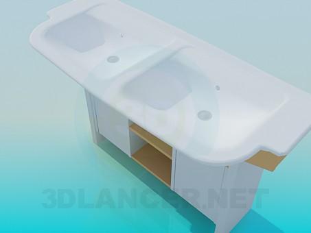 modelo 3D Dos lavabos en una mesa de noche - escuchar