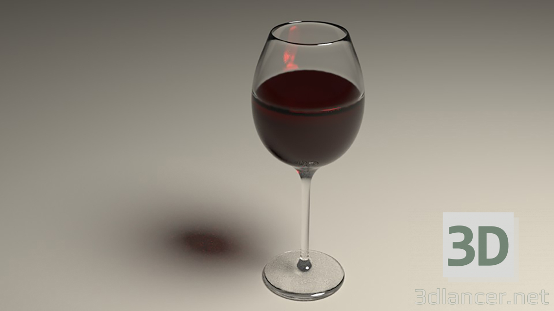 3d model wine glass - preview