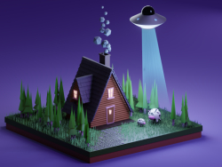 UFO scene kidnap a cow