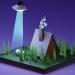 3d UFO scene kidnap a cow model buy - render