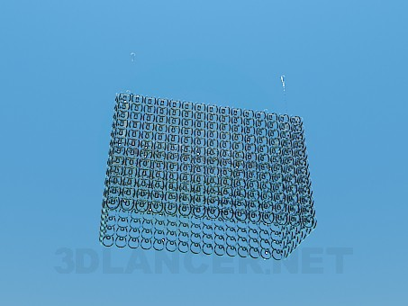 3d модель Прямокутна скляна люстра – превью