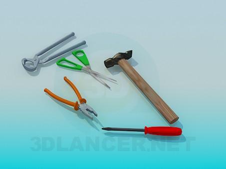 3d модель Молоток, пассатижи, ножницы, отвертка, кусачки – превью
