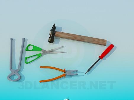 3d model Hammer, pliers, scissors, screwdriver, pliers - preview