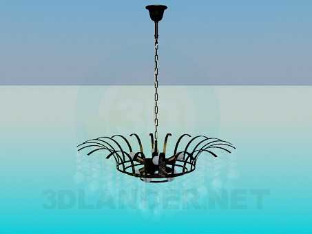 3d modeling Chandelier with glass ornaments model free download