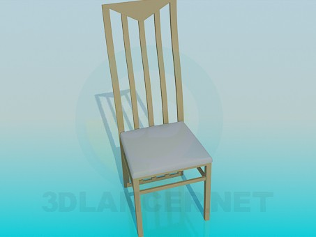 3d modeling Chair with wooden backrest model free download