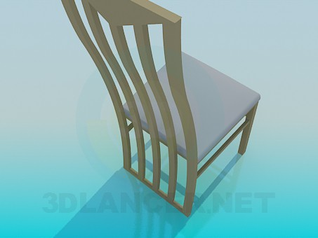 3d model Chair with wooden backrest - preview