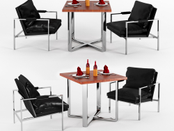 Unusual Chrome Lounge Chairs In Leather At
