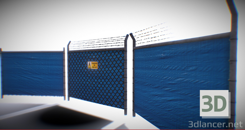 3d Game Ready - Tarped Metal Industrial Fence model buy - render