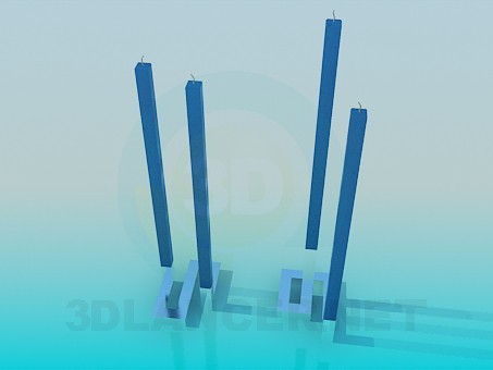 3d model Original tall candles - preview