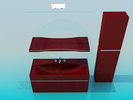 3d model Furniture under the wash basin - preview